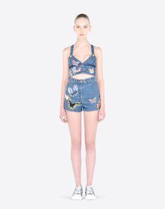 Valentino Online Boutique - Women Autumn/Winter 2015 16, Valentino Crop Top In Embroidered Denim.