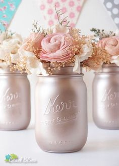 Blush Wedding / Silver Champagne / Blush Rose Gold Wedding Centerpiece Painted Mason Jars Table Reception Decor / set of 3 pints Trendy Wedding, Diy Wedding, Wedding Flowers, Dream Wedding, Wedding Day, Wedding Reception, Wedding Colors, Rose Wedding, Decor Wedding