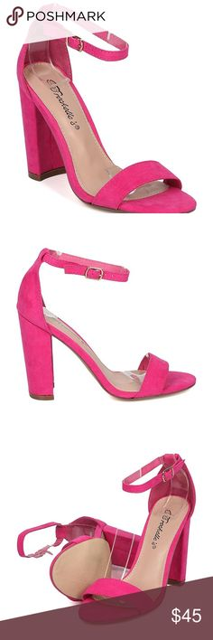 Pink chunky heels Brand new never worn. Comes with box Shoes Heels