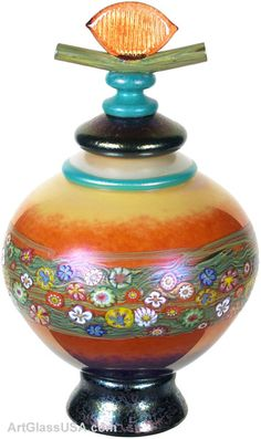 Vine series lidde vase, iridescent  by Ken & Ingrid Hanson
