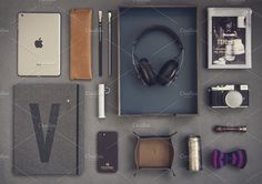 Hipster set 02 ~ Technology Photos on Creative Market Sennheiser Headphones, Things Organized Neatly, Technology Photos, Paper Tray, Hipster, Flatlay Styling, Business Branding, Ipad Mini, Illustration