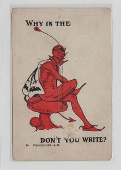 DEVIL in Bat Cape ~ Why in the ... Name Don't You Write? ... - bidStart (item 33712097 in Postcards, Other / Unsorted)