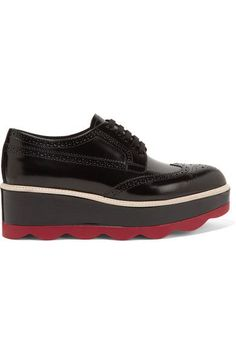 Prada - Leather Platform Brogues - Black - IT