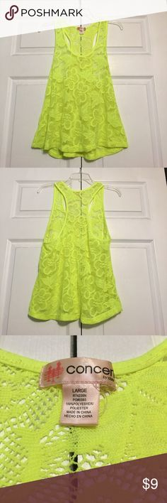 Neon Crochet Racerback Tank Neon yellow crochet racerback tank top. Perfect for summer!! Features floral design. Worn once, in perfect condition. OBO. Tops Tank Tops