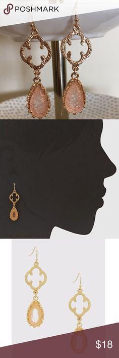 """Druzy Tear Drop Earrings Druzy Tear Drop Quatrefoil Drop Earrings. Nickel and lead free. Length approx 2"""" Bchic Jewelry Earrings"""