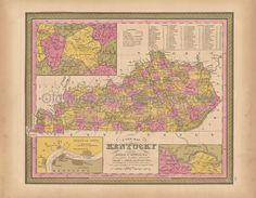 Kentucky KY State Old Map Mitchell 1847 Digital Image Scan Download Printable - Old Map Downloads