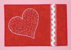 Valentines postcard fabric postcard thread painted by SilverDoily, $10.00