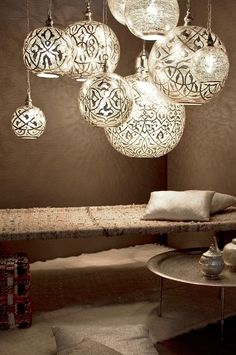 Moroccan influence - Love the airiness of these and the beautiful light patterns they give off. - Model Home Interior Design Moroccan Design, Moroccan Decor, Moroccan Lanterns, Moroccan Style, Moroccan Lighting, Interior Decorating, Interior Design, Home Lighting, Pendant Lighting