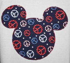 Ready to Ship - Girls' Custom Disney Inspired Applique Mickey Ears T-shirt Red, White & Blue Peace Signs Vacation Shirt Small Tee Disney Pins, Disney Mickey, Disney Art, Mickey Mouse Head, Give Peace A Chance, Diy Calendar, Hippie Peace, Disney Addict, Mickey And Friends