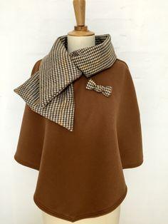 cape femme col croisé noeud laine cachemire liberty mode spéculos pied de poule hiver couture création