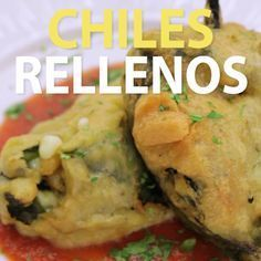 These crispy chiles rellenos are bursting with cheesy goodness, so what are you waiting for? Their deliciousness is enough reason to make them! Mexican Food Recipes, Vegetarian Recipes, Cooking Recipes, Cooking Games, Healthy Cooking, Rellenos Recipe, Crispy Chili Relleno Recipe, Chile Relleno Sauce, Great Recipes