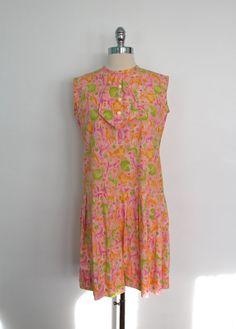 Vintage 1950s 1960s Day Dress / 20s Dropwaist #vintagedress #daydress #safariprint #midcentury #1950s #1960s