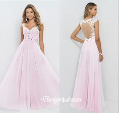 Custom Made Hollow Back A Line Pink Beaded Lace Formal Evening Party Dress , Party Gown, Cheap Prom on Luulla