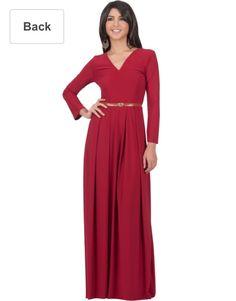 7698d3dd89236 KOH KOH Womens Long Sleeve VNeck Formal Fall Cocktail Evening Gown Elegant  Semi Formal Work Office Modest Vintage Classic Muslim Maxi Dress Color  Crimson ...
