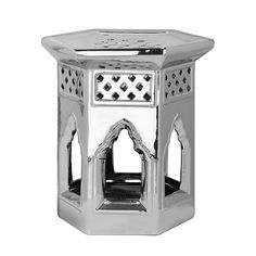 Keramikhocker Marokkanisch - Silber