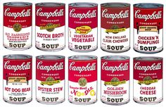 Andy Warhol - Campbell's Soup II Full Suite | Warhol's Campbell's Soup cans ushered in the Pop Art movement, and remains some of his most recognizable portfolio. The idea of using an object of mass consumption was something that Warhol played with throughout his career, as he was known to be fascinated by everyday objects and their role in American society.