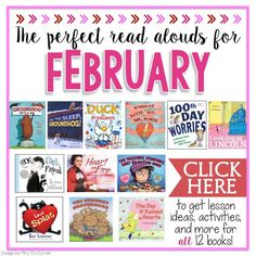 12 PERFECT read alouds for February with lesson ideas, activities and more! Kindergarten Books, Preschool Books, Classroom Activities, Classroom Ideas, Dementia Activities, Kindergarten Worksheets, Online Reading Comprehension, Comprehension Questions, Reading Lists
