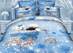 So Cute Bear in Dream Cotton Duvet Cover Sets Kids Bedding Sets 3d Bedding, Kids Bedding Sets, Comforter Sets, Bedroom Bed, Dream Bedroom, Bedroom Decor, Bedrooms, Cute Frozen, Cute Bears