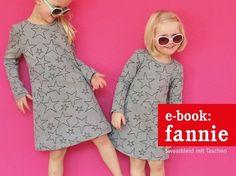 Schnapp Dir gleich elastischen Stoff + die Nähanleitung fürs Sweatkleid und dann näh Deiner Kleinen ein hübsches Kleid in den Gr. 86-152. Probiers aus.