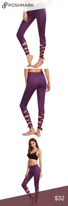 WORKOUT IN STYLE  purple leggings ADORABLE PUPRLE LEGGINGS  Material:95% Cotton, 5% Spandex Fabric:Fabric is very stretchy Waist(Inch): S:22.4inch      M:24inch Hip Size(Inch): S:29.5inch       M:31.1inch Thigh(Inch): S:18.5inch      M:19.3inch Length(Inch): S:24.4inch     M:24.8inch THEY ARE NOT SEE THROUGH IF YOU GET THE RIGHT SIZE , THEY ARE REALLY STRETCHY  && COMFORTABLE  READY TO SHIP SAME OR NEXT BUSINESS DAY boutique Pants Leggings