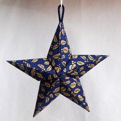 Gold Leaf Puffy Fabric Origami Star Ornament