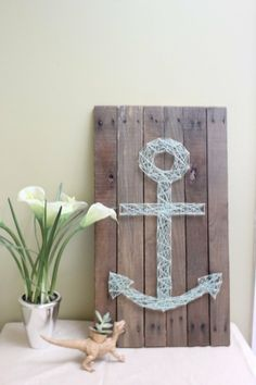 DIY: anchor nail and string art on repurposed pallet via Etsy Diy Pallet Wall, Pallet Art, Pallet Walls, Crafts To Do, Arts And Crafts, Diy Crafts, Nail String Art, Nail Polish Crafts, Crafty Craft