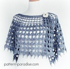 Crochet Pattern for wrap, shawl, poncho, by pattern-paradise.com. Pattern has other coordinated pieces. #crochet #wrap #crochetwrap #shawl