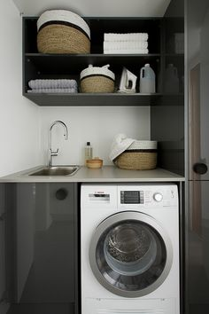 Laundry Room Countertop, Laundry Room Cabinets, Laundry Room Organization, Compact Laundry, Small Laundry Rooms, Laundry In Bathroom, Metal Barn Homes, Diy Pallet Wall, Pole Barn House Plans