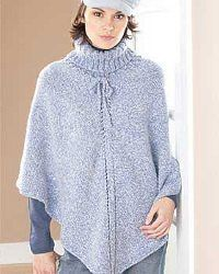 This pretty turtleneck poncho is every bit cozy as it is beautiful. Look stylish without even trying with this free knitting pattern from Bernat.