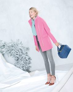 Pastels are particularly sweet during the depths of winter: J.Crew stadium-cloth cocoon coat and the cashmere rib trim scarf.