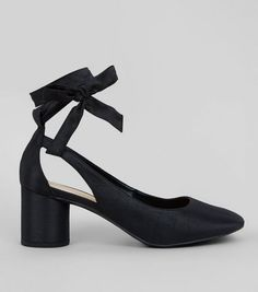Black Satin Ankle Bow Tie Block Heeled Sandals  | New Look