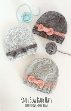 Knit Bow Baby Hats | littleredwindow.com | A quick easy and FREE knitting…