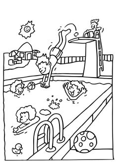 Summer pool coloring pages download and print for free