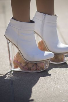 Street style at New York Fashion Week, Spring Fashion Week 2015, New York Fashion, Fashion Weeks, Sock Shoes, Shoe Boots, Funny Shoes, Weird Shoes, Crazy Heels, Barbie Shoes