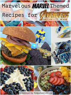 Check out our list of recipes, perfect for any MARVELOUS occasion! Create your favorite Marvel themed dish or cocktail in honor of the upcoming release of Movie Night Snacks, Night Food, Movie Nights, Avengers Party Foods, Marvel, Family Meals, Kids Meals, Party Food For Adults, Disney Dinner