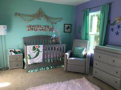 Our little mermaid's nursery casa de praia, quarto jovem, quartos, dec Mermaid Nursery Theme, Little Mermaid Nursery, Sea Nursery, Baby Mermaid, Nursery Room, Mermaid Beach, Baby Room Themes, Baby Girl Nursery Themes, Baby Nursery Neutral