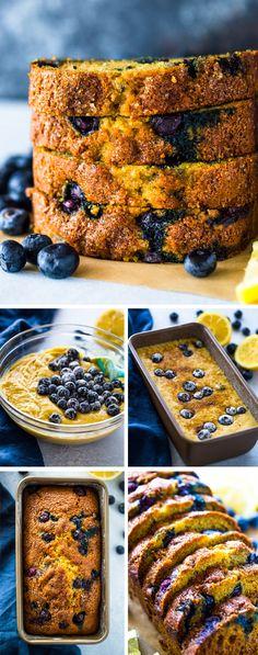 Healthy Lemon Blueberry Bread | Gimme Delicious Healthy Blueberry Desserts, Lemon Blueberry Loaf, Healthy Banana Bread, Healthy Cake, Healthy Baking, Healthy Breakfast Breads, Lemon Dessert Recipes, Lemon Recipes, Bread Recipes