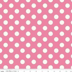 Riley Blake Medium Polka Dots Hot Pink and White C360-70