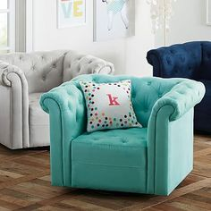 Cushy Roll Arm Swivel Chair #pbteen
