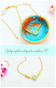 happy girly crafty: Girly crystal and pearls mint necklace DIY