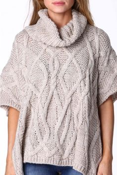 Emma Cable Knit Poncho in Beige | Necessary Clothing