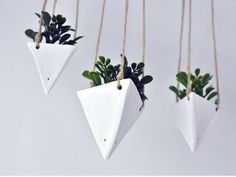 Hanging Triangular Geo Planter White for Succulents by ClaydeLys1