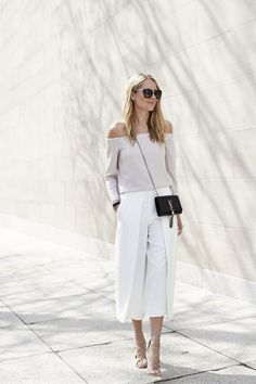 Off-the-shoulder perfection with a pair of culottes and neutral tones! Where would you rock this look?