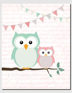 Baby Girl Nursery Art Mint Coral Owl Wall Art Kids by vtdesigns