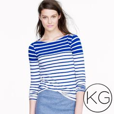 """J. Crew Painter Boatneck Tee in Stripe In perfect pre-owned condition! •Women's size S •100% Cotton •15"""" from underarm to underarm, 24.5"""" from shoulder to hem •Retail $48 no trades nor lowball offers Thank you for shopping in my closet! J. Crew Tops Tees - Long Sleeve"""