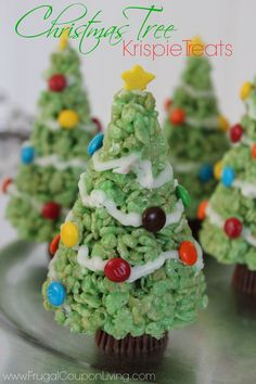 Christmas Tree Rice Krispie Treats with Molding Tip using Ice Cream Cone Molds. Kids Food Craft on Frugal Coupon Living and more seasonal Rice Krispie Treat Recipes - Thanksgiving, Valentine's Day, Halloween and More.
