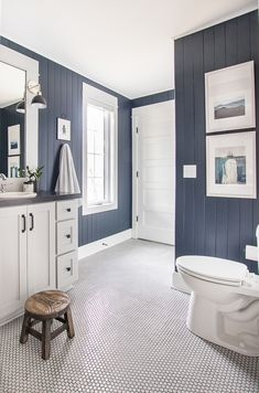navy planked walls, gray penny tile, nautical accents What's Decoration? Decoration is the art of decorating the inside and exterior … Boys Bathroom, Home, Beach House Interior, Lake House Bathroom, Lilypad Cottages, House Interior, Lake House Interior, Cottage Bathroom, Bathroom Decor