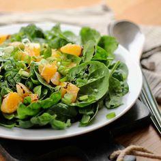 Sitrussalat med spinat og kremet balsamico. Lettuce, Vegetables, Food, Spinach, Vegetable Recipes, Eten, Veggie Food, Salad, Meals