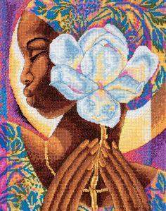 0 point de croix femme africaine et fleur - cross stitch african woman and flower