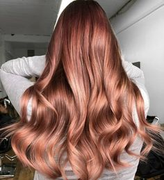 Rose gold on brown hair